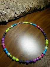 Neu unikat Regenbogen Polariskette bunt Halskette Würfel matt 6 mm Polaris kette