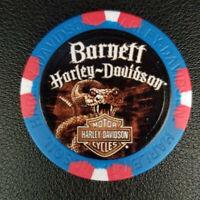 BARNETT HD ~ TEXAS ~ (Wide Print Blue/Red) Harley Davidson Poker Chip