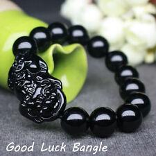 Black Feng Shui Obsidian Stone Wealth Pi Xiu Bracelet Attract Good Luck Wealth
