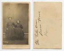 CUTE SIBLINGS, YOUNG SISTERS DRESSED ALIKE HOLDING HANDS INFO ON BACK CDV