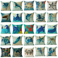 Blue Sea Animal Cotton Linen Sofa Cushion Cover Throw Pillow Case Home Decor