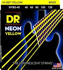 DR Neon YELLOW 5 String Bass Guitar Light gauges 40-120 NYB5-40