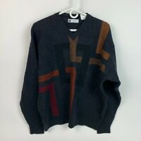 Vintage 90's Bachrach Geometric Wool Sweater V-Neck Mens Large Made in Italy