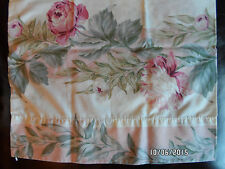 King Pillowcase Shabby  Pink Roses Wide Stripes Martex EUC