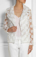 NWT $3.1K Simone Rocha White Floral-Embroidered Mesh-Backed Pvc Jacket, UK 6 (S)
