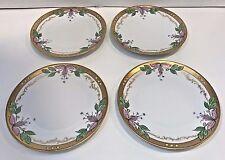 "H&Co Heinrich&Co Bavarian Art Deco Plate 7 1/2"" White, Green, Pink & Gold Trim"
