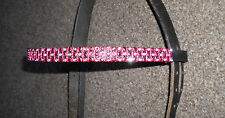 """RED BLINGY BROWBAND, COB SIZE 15""""  BROWN LEATHER,  **NEW*"""