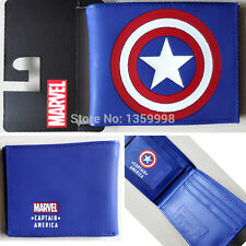 NEW Captain America Leather Short Wallet Purse Bi-Fold FREE SHIP + BADGE