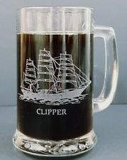 Etched Clipper Glass Mug W/History Of The Clipper 12 Oz Set Of 3