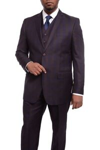 Mens 56R Vitali Classic Fit Burgundy With Blue Plaid Two Button Suit