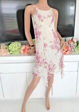 BLUMARINE Impreziosito Cristalli Fiore Vestito Con Gonna Foulard (vendita al dettaglio £ 350)
