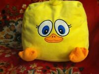 """13"""" Squishable Square Pillow PLUSH Chicken eyes/mouth/short legsbunch hair wing"""