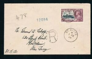 1935 Silver Jubilee St Christopher & Nevis 1/- on a registered cover to USA