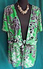 LANE BRYANT Floral Chiffon Layer Top Sz 14 16 Tie Waist Flirty Cap Sleeve Blouse