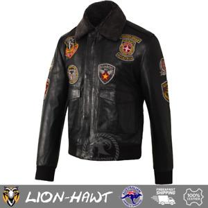 Pashmeer Lion-Hawt Mens Aviator Pilot Bomber Jacket Badges Black Fur Collar