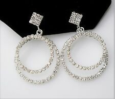 C309 DOUBLE CIRCLE STYLE SILVER CLEAR COLOR WEDDING PARTY FASHION DROP EARRING