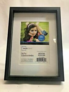 "Mainstays Picture Frame, Black Plastic  5x7"", 3.5x5"" or 4x6"" With Mat"