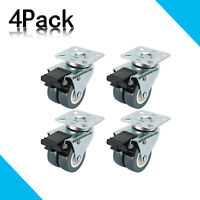 4Pack 2Inch Heavy Duty Dual Wheel Casters with Brake Swivel Top Plate, 551 LBs