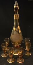 vintage Amber decanter with 6 glasses