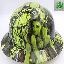 Hard Hat custom hydro dipped , FULL BRIM BAD BONES CLUB HI VIS GREEN BULLARD