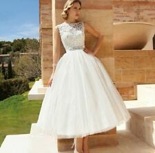 White Short Tulle Princess Wedding Dress Evening Ball Party Bridal Dresses 14