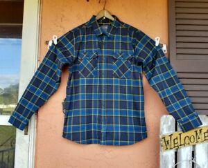 Mountain Hardwear Mens Shirt Large Blue Yellow Button Front Long Sleeve