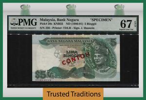TT PK 28s 1986-91 MALAYSIA 5 RINGGIT SPECIMEN T. A. RAHMAN PMG 67 EPQ SUPERB GEM