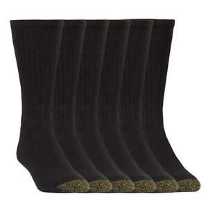 Gold Toe Men's Harrington Crew 6 Pack Extended, Black, Sock, Black, Size 10.0 H3