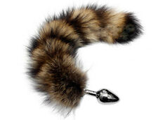 Faux Fur Wild Racoon Large Butt Plug Tail