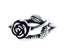 Vintage retro style antique silver coloured rose open ring, UK Size L