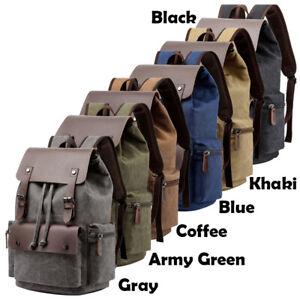 "Leather Rucksack Backpack for Men Women 14"" Laptop School Bag Travel Satchel"