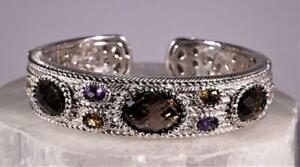 Judith Ripka Sterling Silver Multi-Stone Hinged Cuff Bracelet