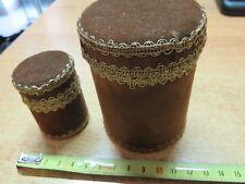 Vecchio portasigarette e portafiammiferi da tavolo in velluto rotondo circolare