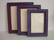 Lot de 3 cadres rayés bleu et marron, en bois teint et vernis avec fond et verre