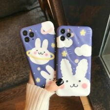 Cute Planet Cloud Bunny Phone Case Pleated Relief Rabbit Stars Cover for iPhone