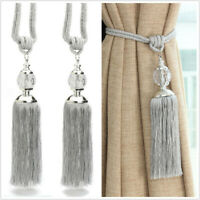 2X Curtain Holdbacks Rope Tie Backs Tassel Tiebacks Beaded Ball Decor Silver UK