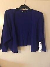 NWT Leslie Fay Sapphire Blue Long Sleeve Sweater Cardigan Wrap Size 3X