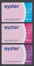 RARE 3 x DIFFERENT OLYMPICS  OYSTER CARDS  - NOT FOR TRAVEL - COLLECTABLE ONLY