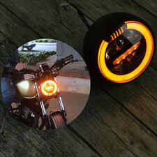 "6.8"" Amber Angel Eyes Motorcycle LED Head Fog Light Driving DRL for Honda Suzuki"