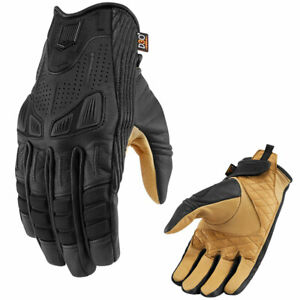 2021 Icon 1000 Axys Leather Textile Motorcycle Gloves Black Gold Pick Size