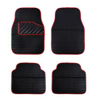 Car Floor Mat Universal Black Red Side Front Rear Faux Leather Waterproof 4 PC