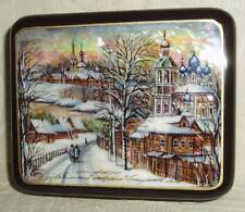 Russian Lacquer box Fedoskino Landscape with church Mother of Pearl Hand Painted