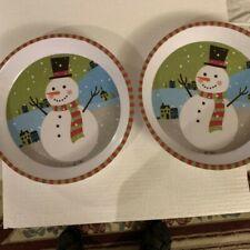 "2 Christmas Snowman Melamine Deep Dish Serving Plates 11"""