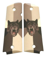 Custom Full Size 1911 Grips Ambidextrous Insanity Wolf for Colt Kimber Ruger etc