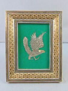 Vintage Decorative Middle Eastern Etched Copper Eagle w/ Khatam Inlaid Frame