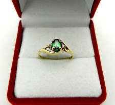 """Green Stone Ring with Accent T&C Vintage """"Love Song"""" 10k Yellow Gold"""