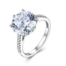 Round 10mm Solid 10K White Gold Ring Natural Diamond Gorgeous Jewelry Size 6.5