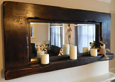 Reclaimed Rustic large Farmhouse Mirror wooden with candle shelf dark oak sale