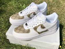 🔥 nuevo-Custom gucci Nike Air Force 1 ~ EUR 41-UK 7-af1-blanco/White