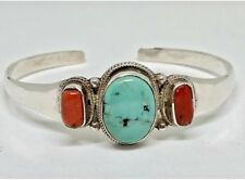 AUTHENTIC 925 SILVER BRACELET TIBETAN HANDCRAFTED NEW TURQUOISE & CORAL BANGLE